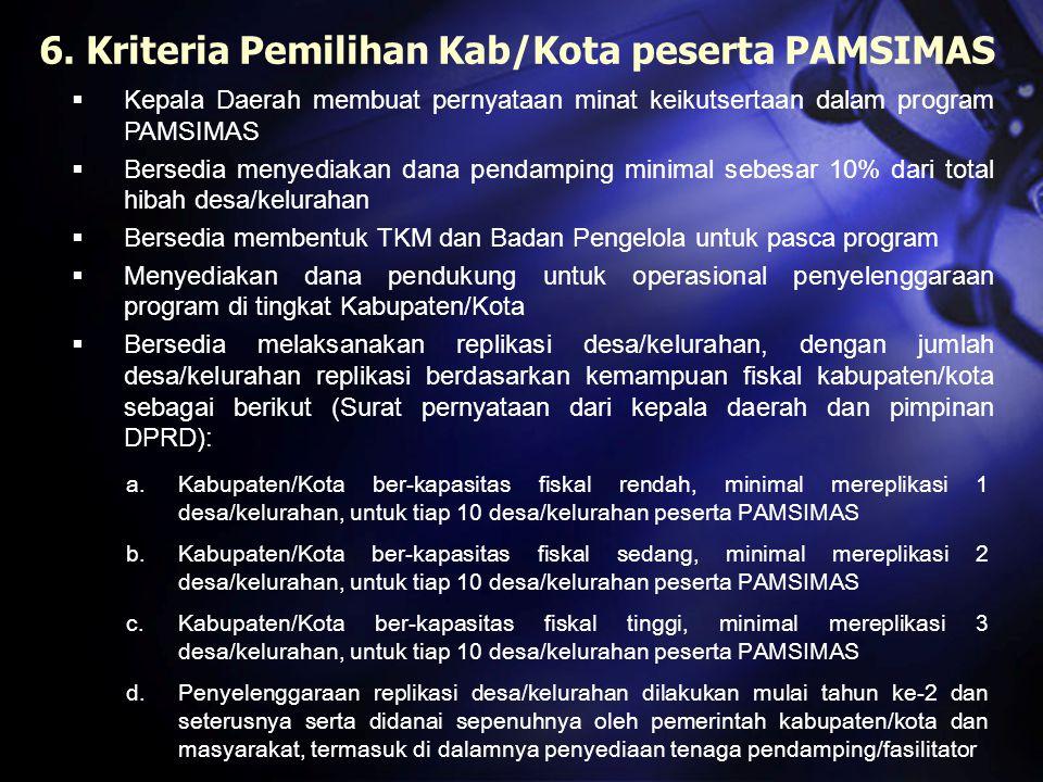 6. Kriteria Pemilihan Kab/Kota peserta PAMSIMAS