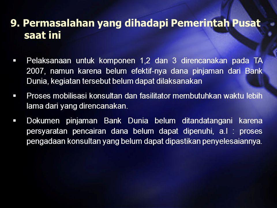 9. Permasalahan yang dihadapi Pemerintah Pusat saat ini