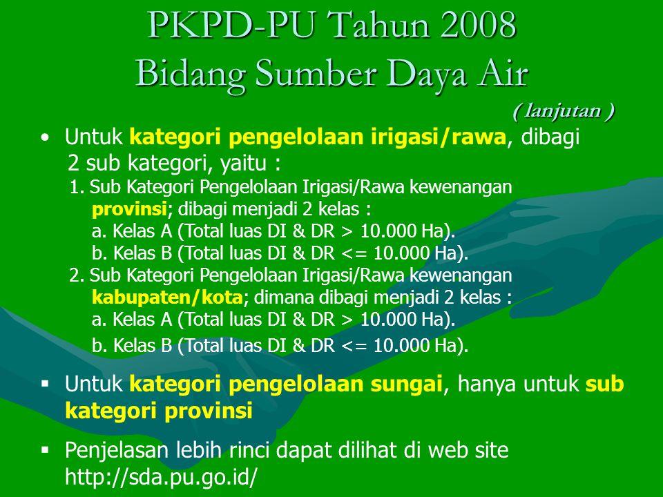 PKPD-PU Tahun 2008 Bidang Sumber Daya Air ( lanjutan )