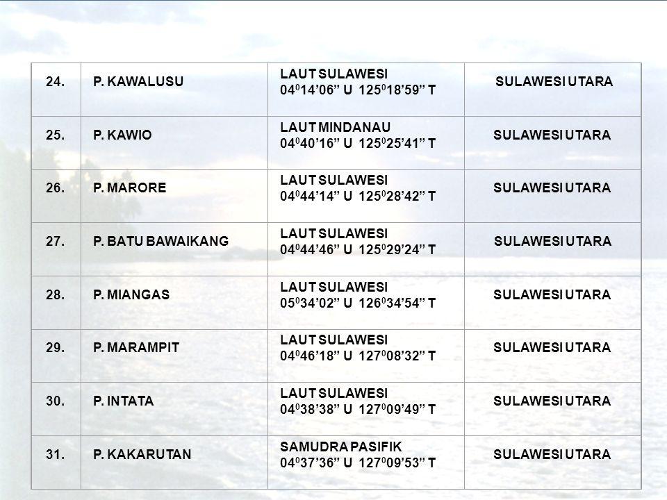 24. P. KAWALUSU. LAUT SULAWESI. 04014'06 U 125018'59 T. SULAWESI UTARA. 25. P. KAWIO. LAUT MINDANAU.