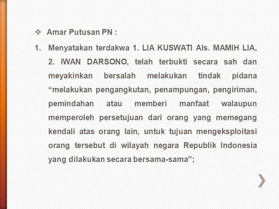 Amar Putusan PN :