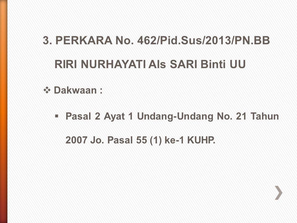 3. PERKARA No. 462/Pid.Sus/2013/PN.BB RIRI NURHAYATI Als SARI Binti UU