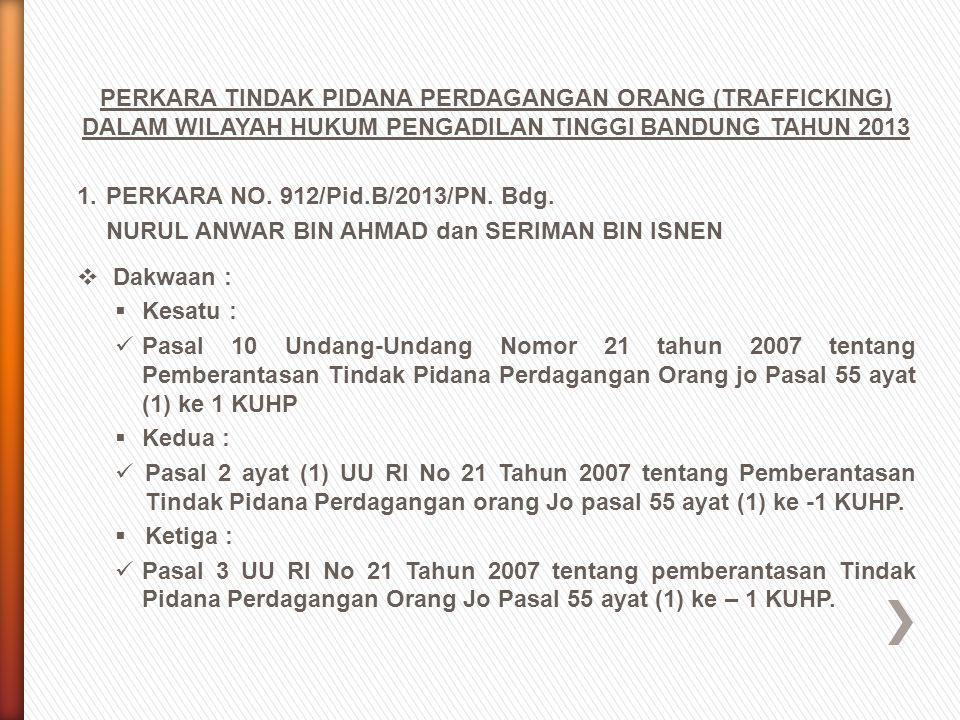 PERKARA TINDAK PIDANA PERDAGANGAN ORANG (TRAFFICKING) DALAM WILAYAH HUKUM PENGADILAN TINGGI BANDUNG TAHUN 2013