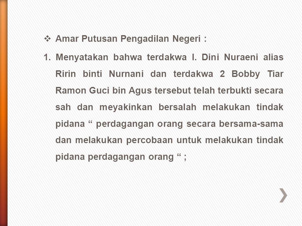Amar Putusan Pengadilan Negeri :