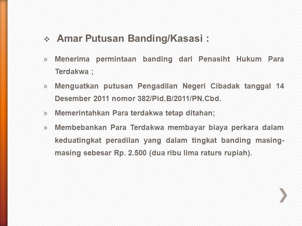Amar Putusan Banding/Kasasi :