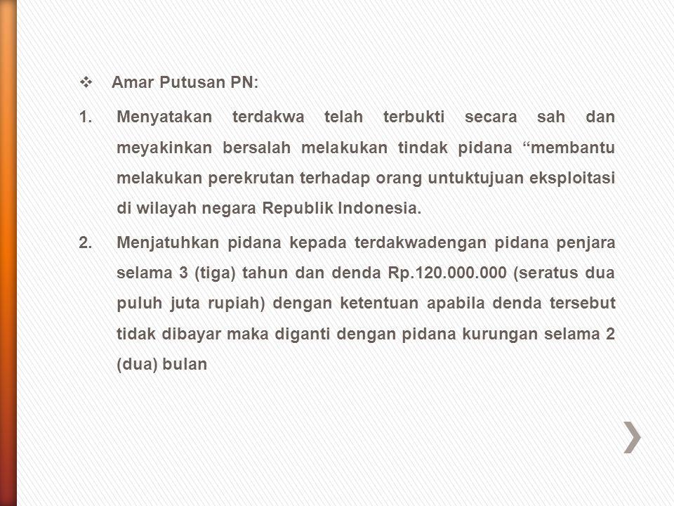 Amar Putusan PN: