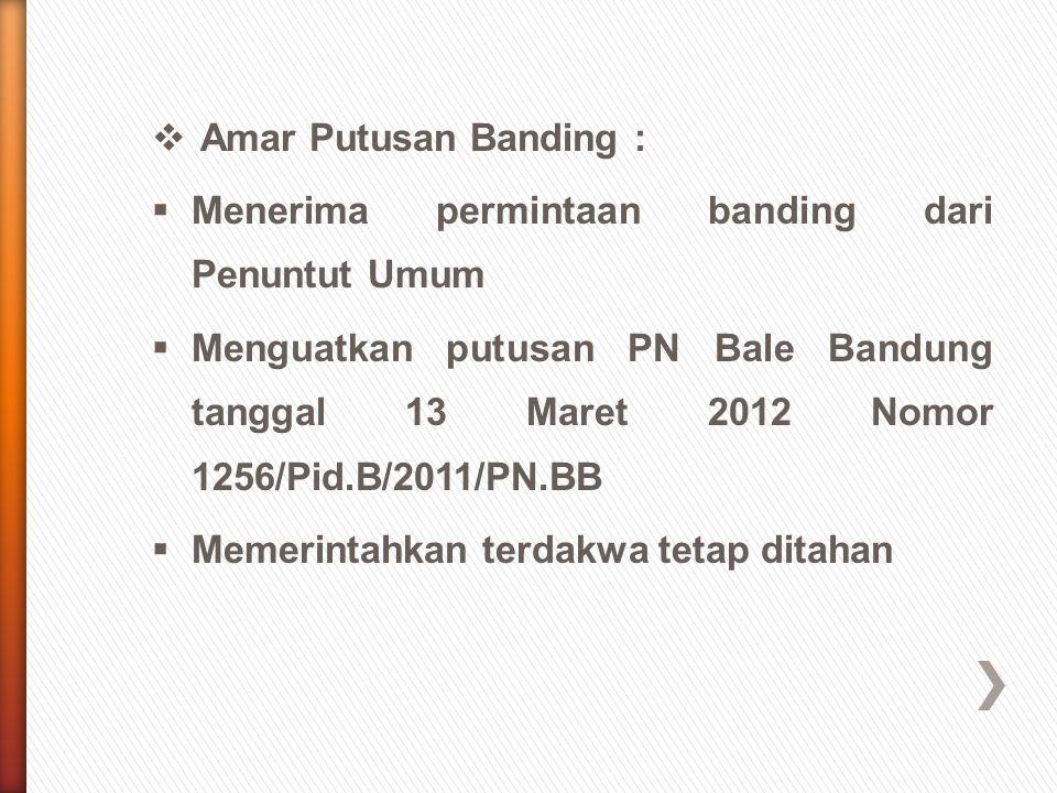 Amar Putusan Banding : Menerima permintaan banding dari Penuntut Umum.