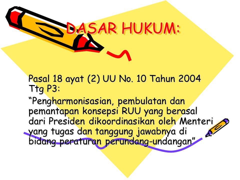 DASAR HUKUM: Pasal 18 ayat (2) UU No. 10 Tahun 2004 Ttg P3: