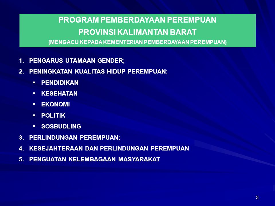 PROGRAM PEMBERDAYAAN PEREMPUAN PROVINSI KALIMANTAN BARAT