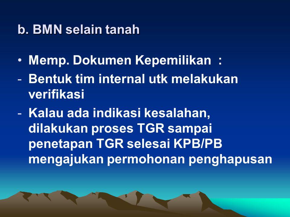 b. BMN selain tanah Memp. Dokumen Kepemilikan : Bentuk tim internal utk melakukan verifikasi.