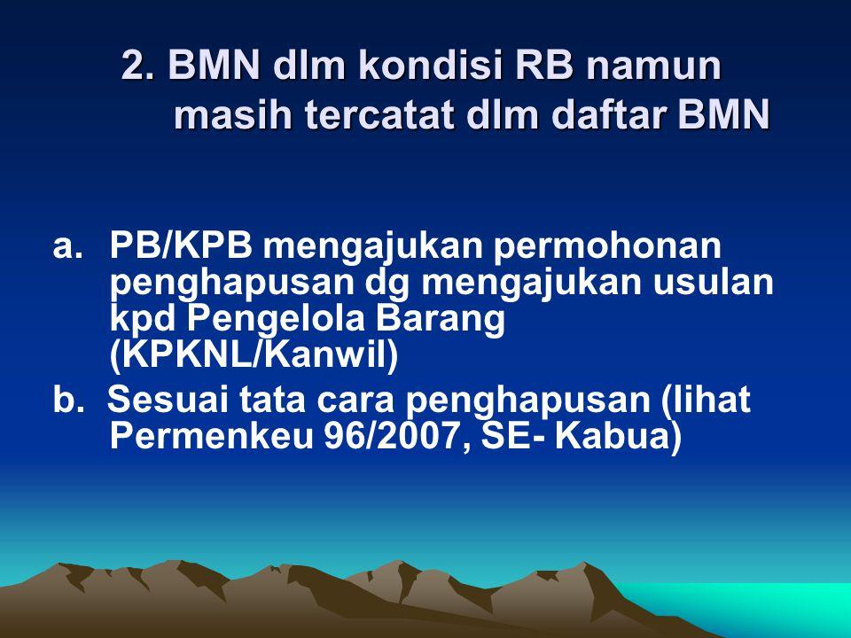 2. BMN dlm kondisi RB namun masih tercatat dlm daftar BMN