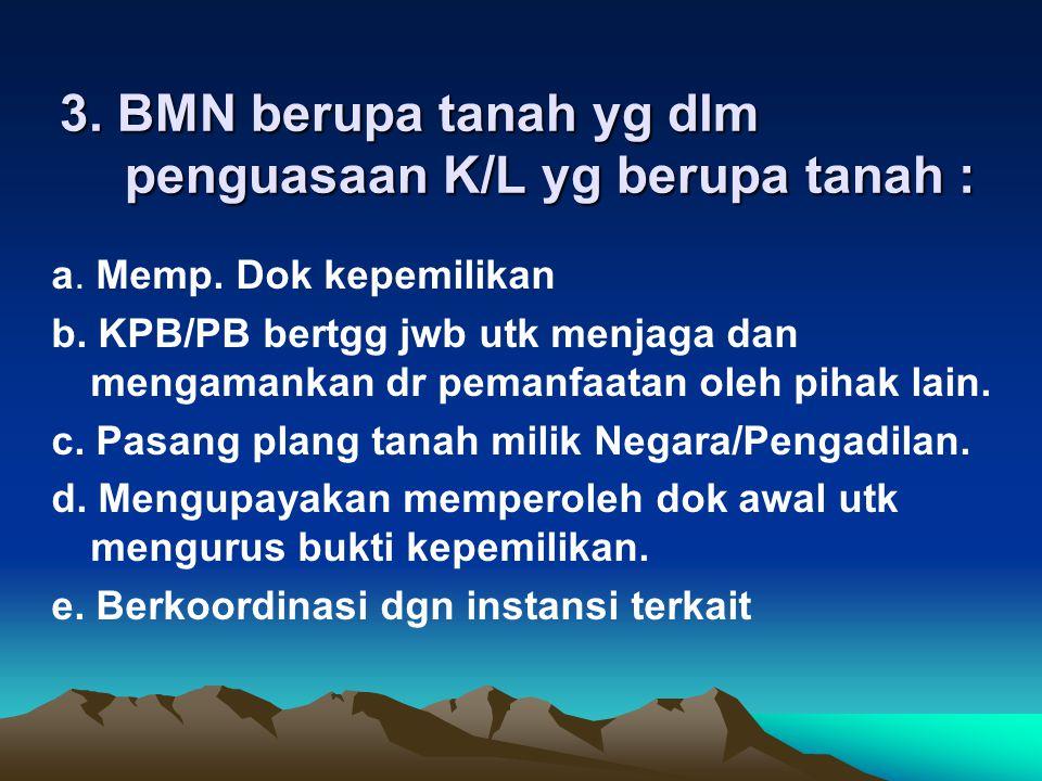 3. BMN berupa tanah yg dlm penguasaan K/L yg berupa tanah :