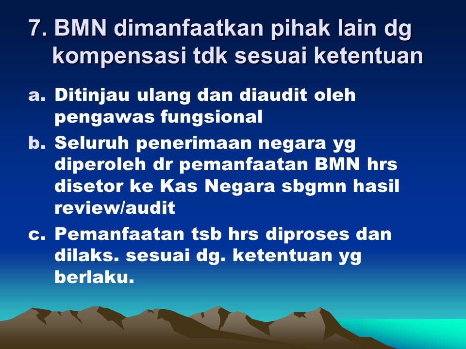 7. BMN dimanfaatkan pihak lain dg kompensasi tdk sesuai ketentuan