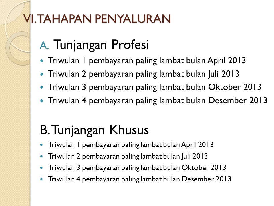 Tunjangan Profesi B. Tunjangan Khusus VI. TAHAPAN PENYALURAN