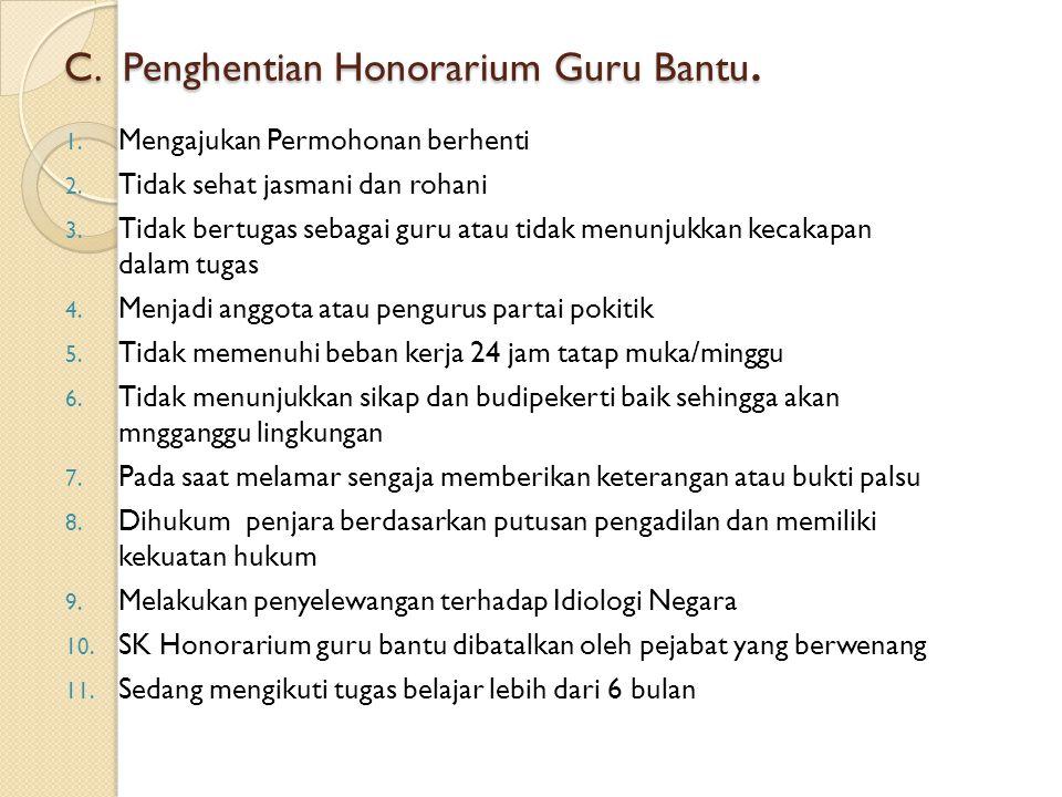 C. Penghentian Honorarium Guru Bantu.
