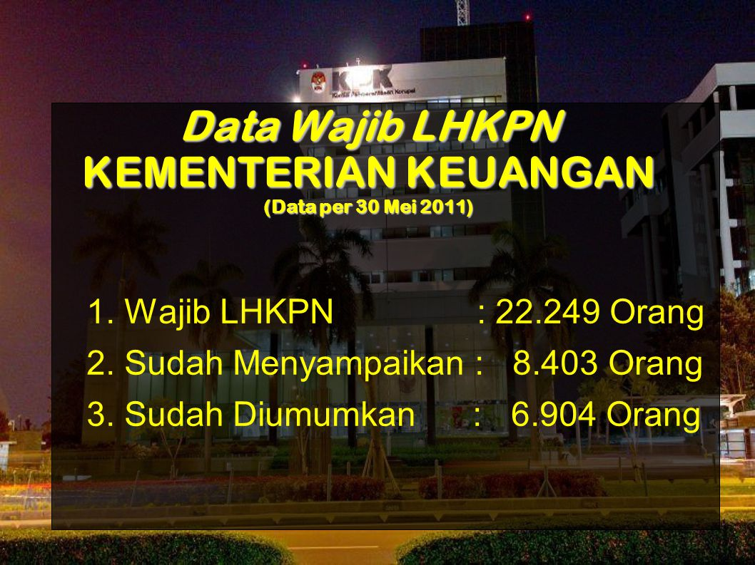Data Wajib LHKPN KEMENTERIAN KEUANGAN (Data per 30 Mei 2011)