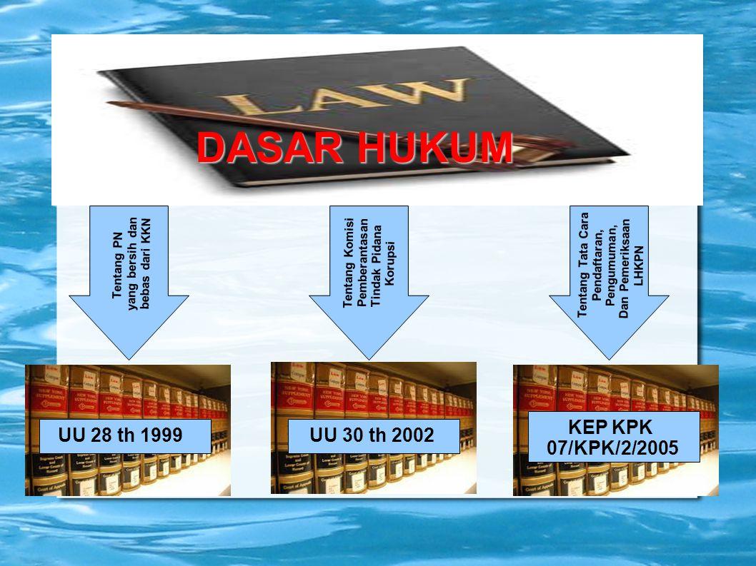 DASAR HUKUM KEP KPK 07/KPK/2/2005 UU 28 th 1999 UU 30 th 2002