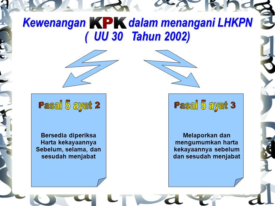 Kewenangan dalam menangani LHKPN ( UU 30 Tahun 2002)