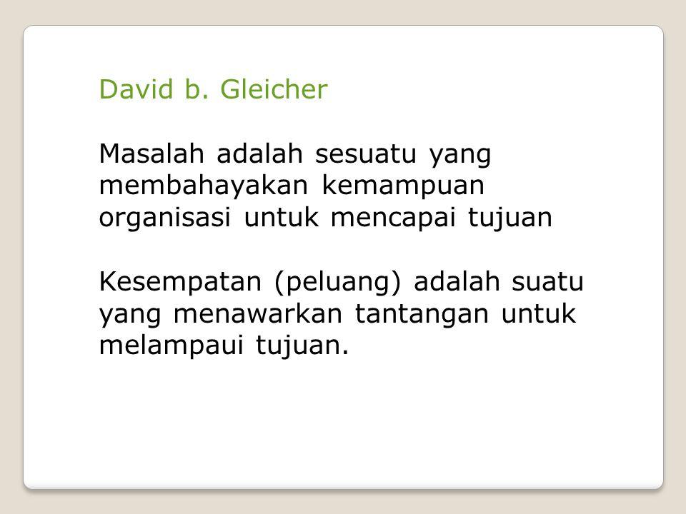 David b. Gleicher Masalah adalah sesuatu yang membahayakan kemampuan organisasi untuk mencapai tujuan.