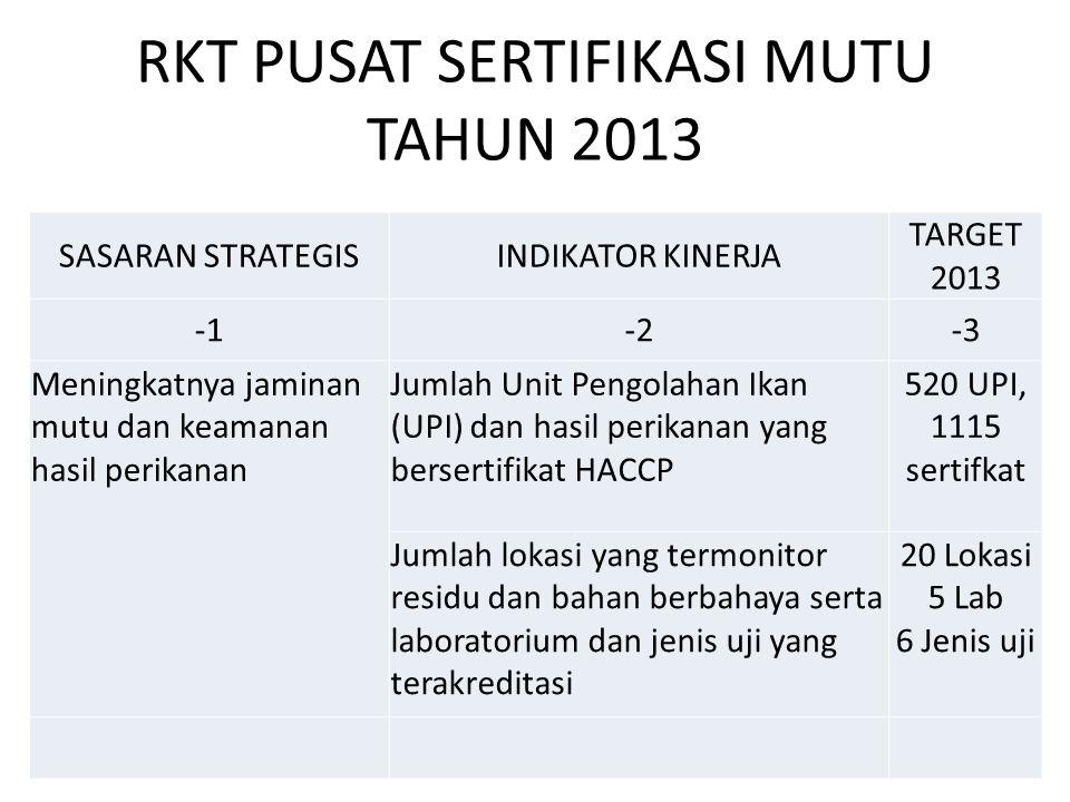 RKT PUSAT SERTIFIKASI MUTU TAHUN 2013