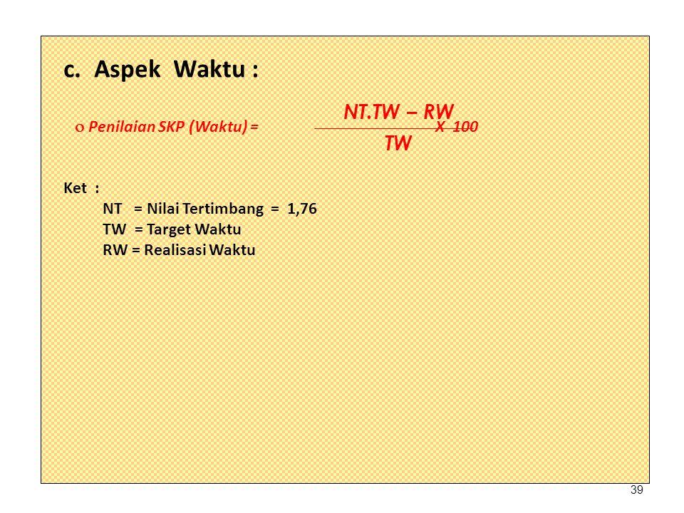 c. Aspek Waktu : NT.TW – RW TW  Penilaian SKP (Waktu) = X 100 Ket :