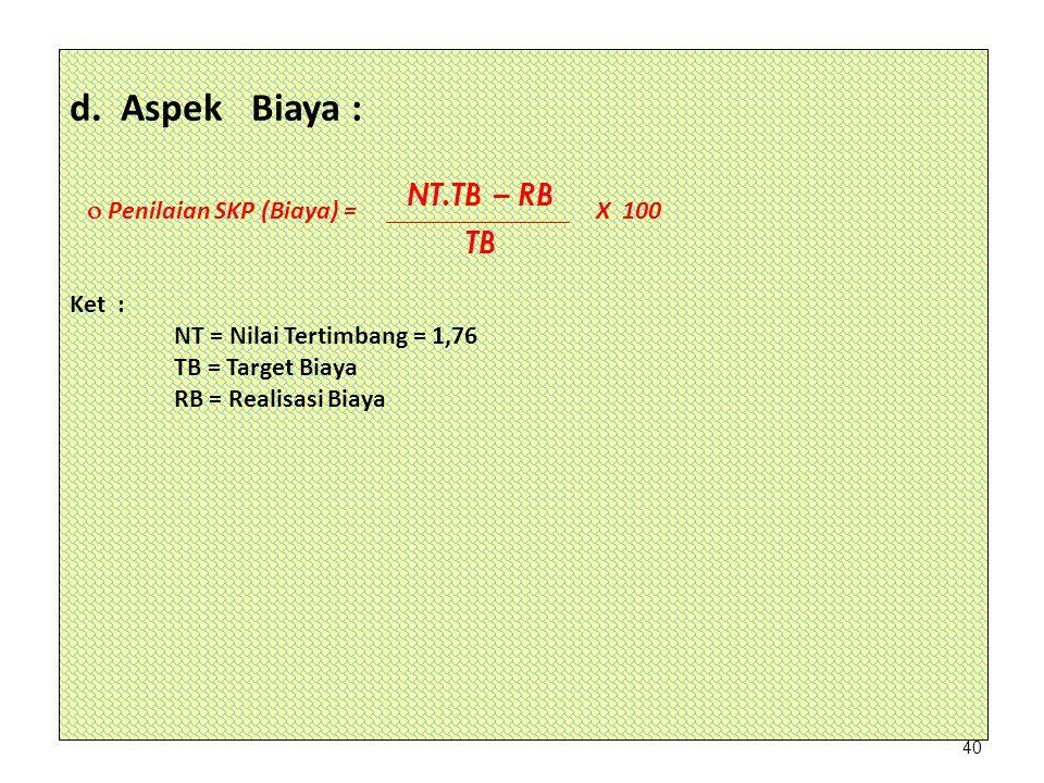 d. Aspek Biaya : NT.TB – RB TB  Penilaian SKP (Biaya) = X 100 Ket :