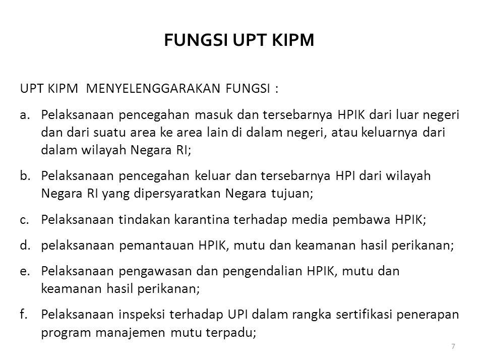 FUNGSI UPT KIPM UPT KIPM MENYELENGGARAKAN FUNGSI :