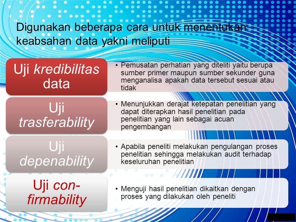 Digunakan beberapa cara untuk menentukan keabsahan data yakni meliputi