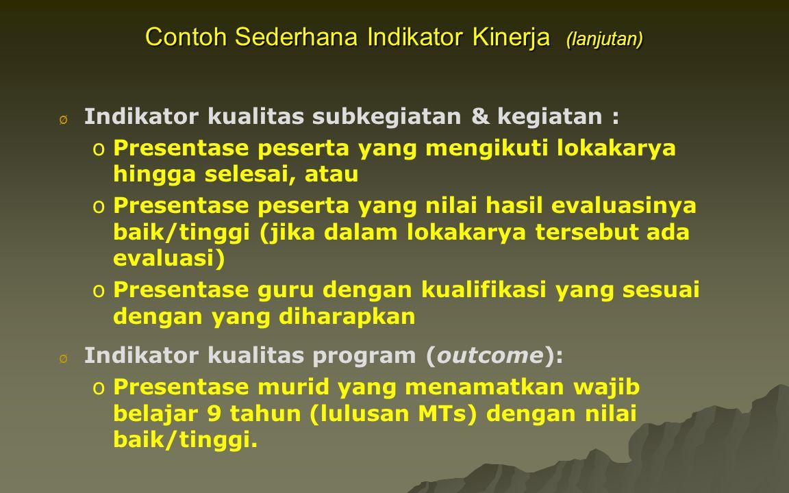 Contoh Sederhana Indikator Kinerja (lanjutan)