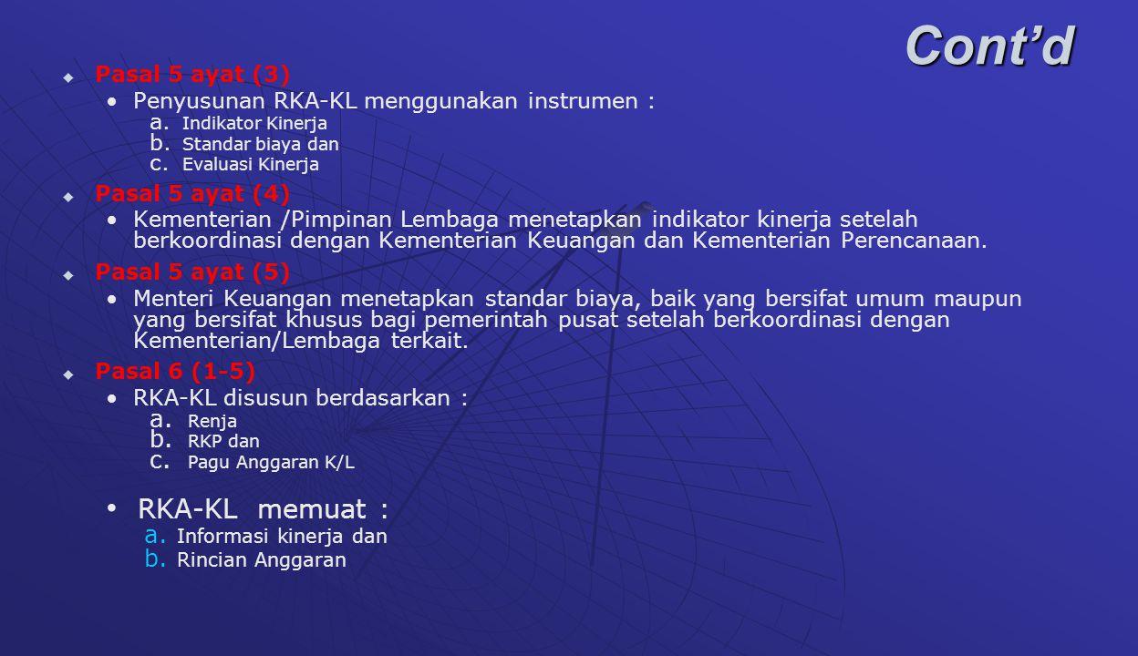 Cont'd RKA-KL memuat : Pasal 5 ayat (3)