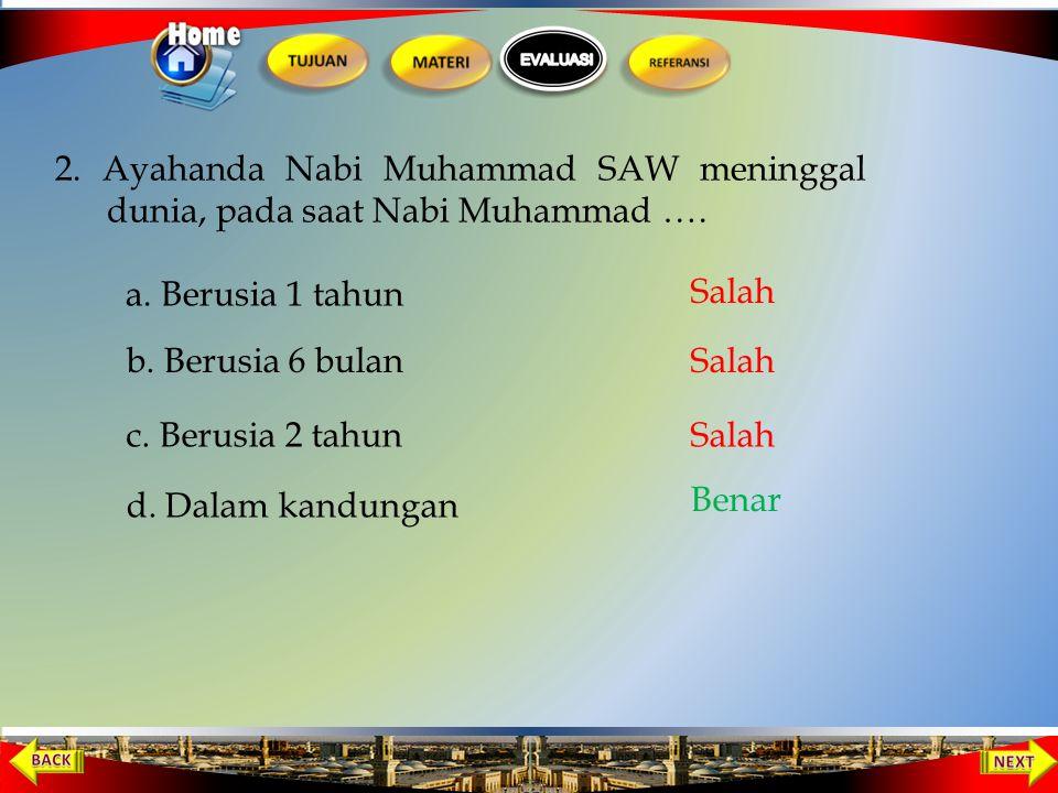 2. Ayahanda Nabi Muhammad SAW meninggal dunia, pada saat Nabi Muhammad ….