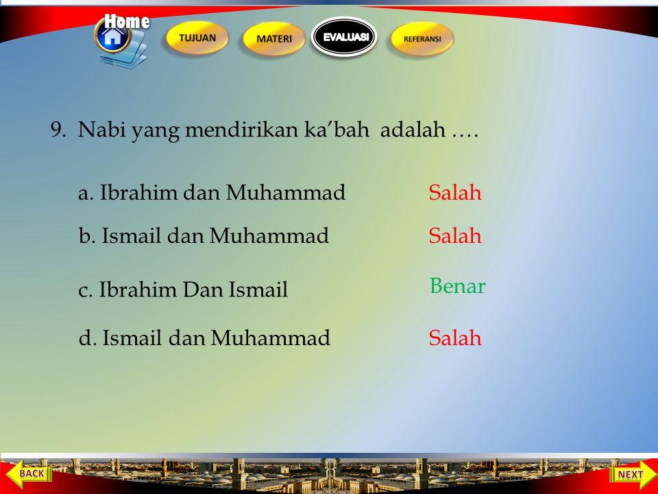 9. Nabi yang mendirikan ka'bah adalah ….