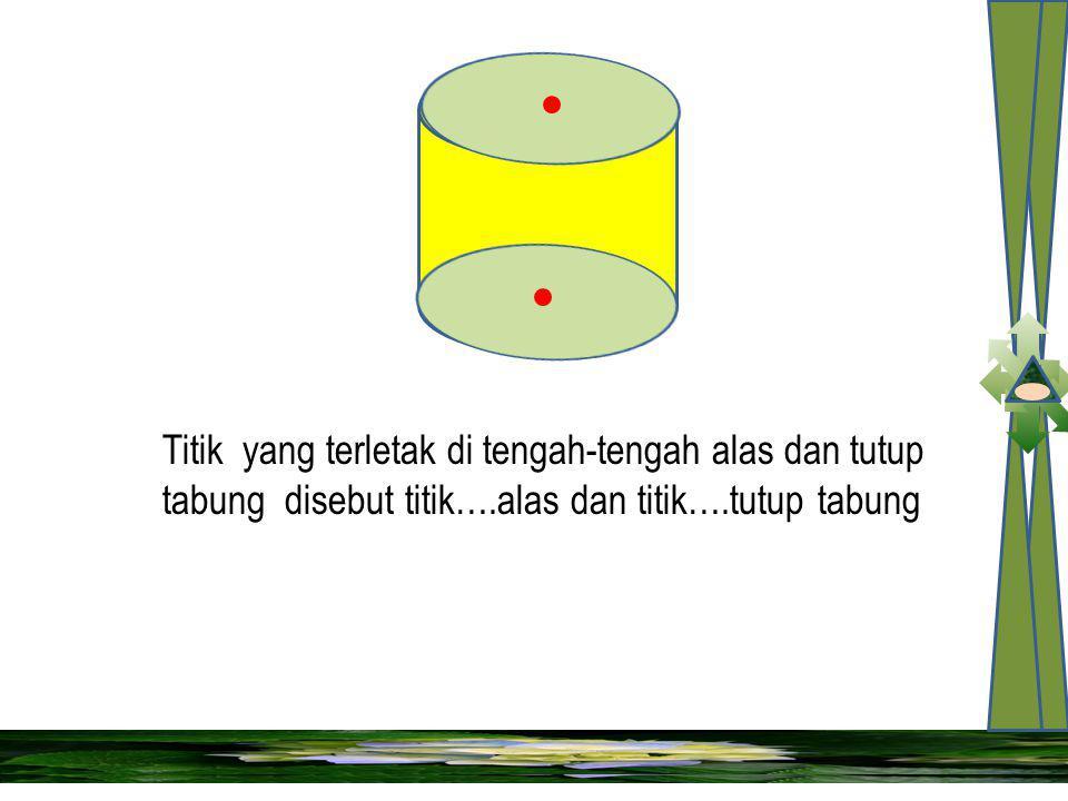 Titik yang terletak di tengah-tengah alas dan tutup tabung disebut titik….alas dan titik….tutup tabung
