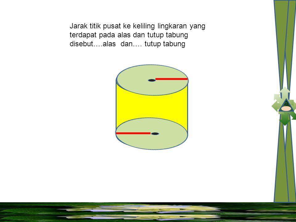 Jarak titik pusat ke keliling lingkaran yang terdapat pada alas dan tutup tabung disebut….alas dan….