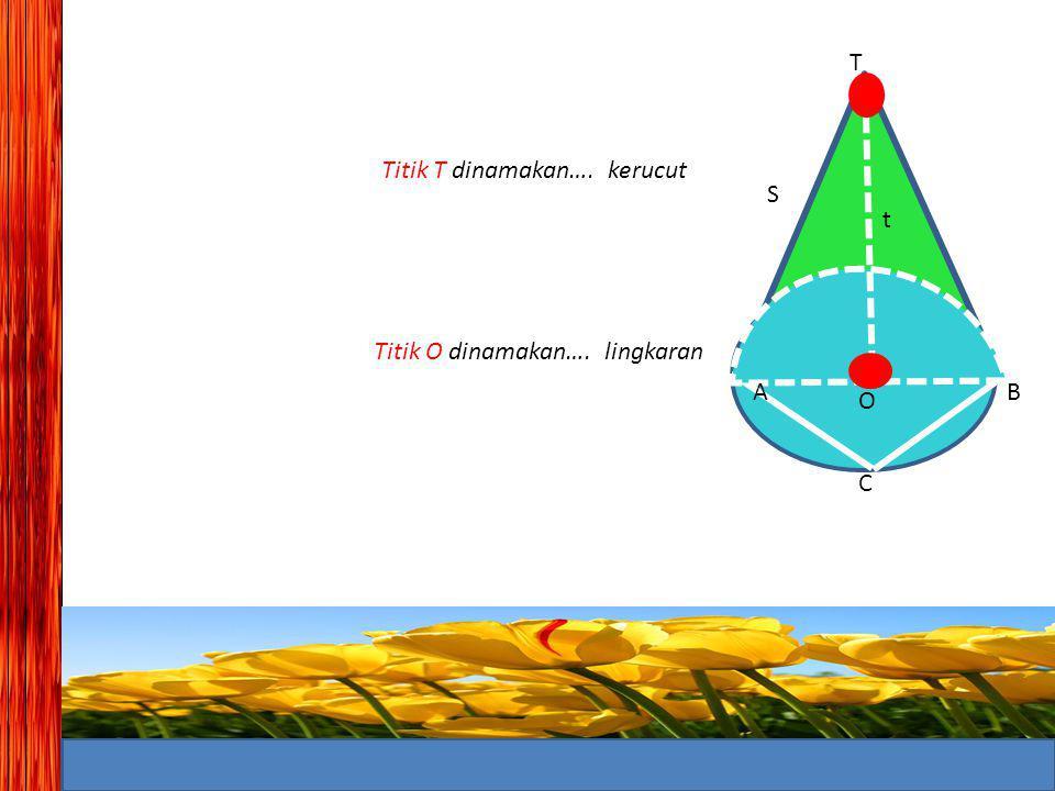 T Titik T dinamakan…. kerucut S t Titik O dinamakan…. lingkaran A B O C