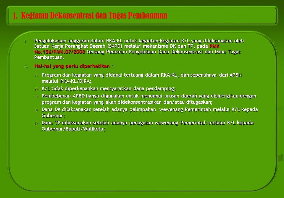j. Kegiatan Dekonsentrasi dan Tugas Pembantuan