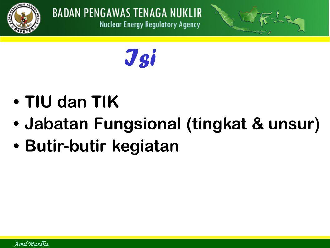 Isi TIU dan TIK Jabatan Fungsional (tingkat & unsur)