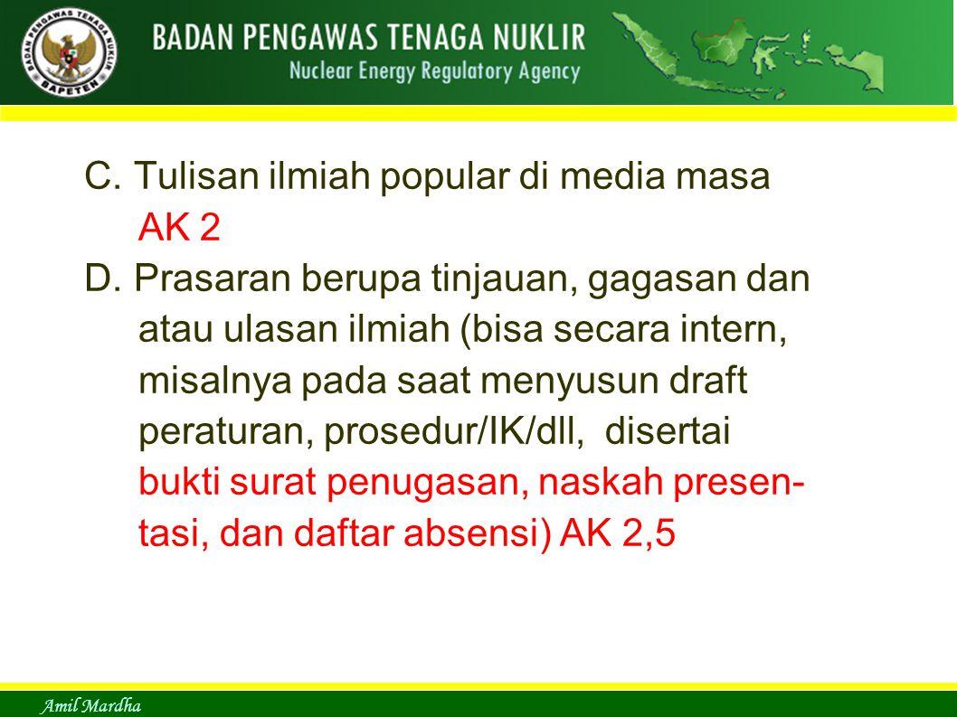 C. Tulisan ilmiah popular di media masa AK 2