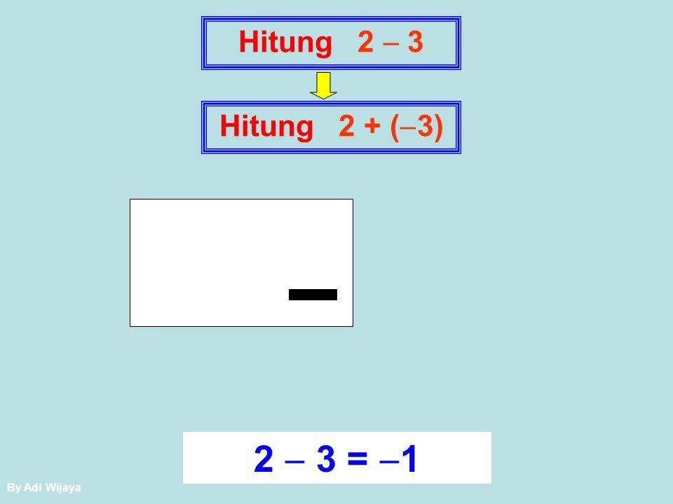 Hitung 2  3 Hitung 2 + (3) + 2  3 = 1 By Adi Wijaya