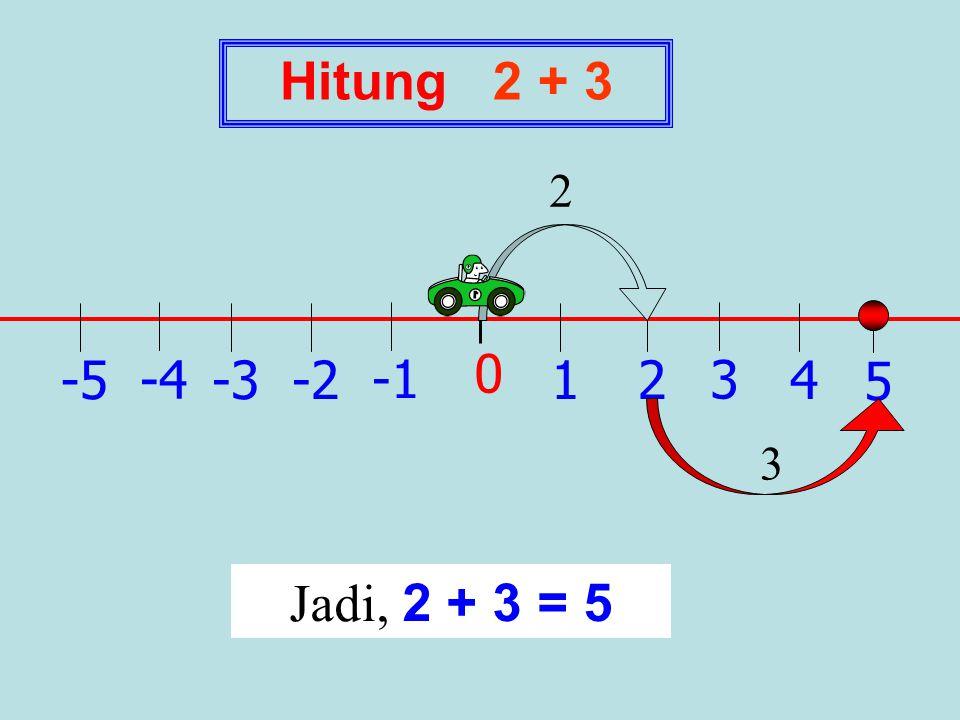 Hitung 2 + 3 2 1 -1 2 -2 3 -3 4 -4 5 -5 3 Jadi, 2 + 3 = 5