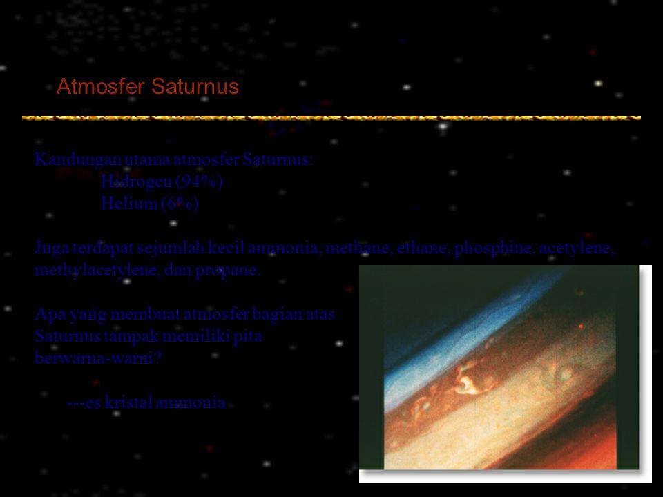 Atmosfer Saturnus Kandungan utama atmosfer Saturnus: Hidrogen (94%)