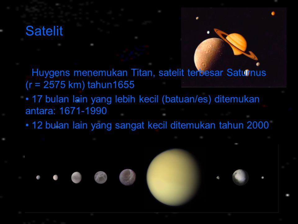 Satelit • Huygens menemukan Titan, satelit terbesar Saturnus (r = 2575 km) tahun1655.