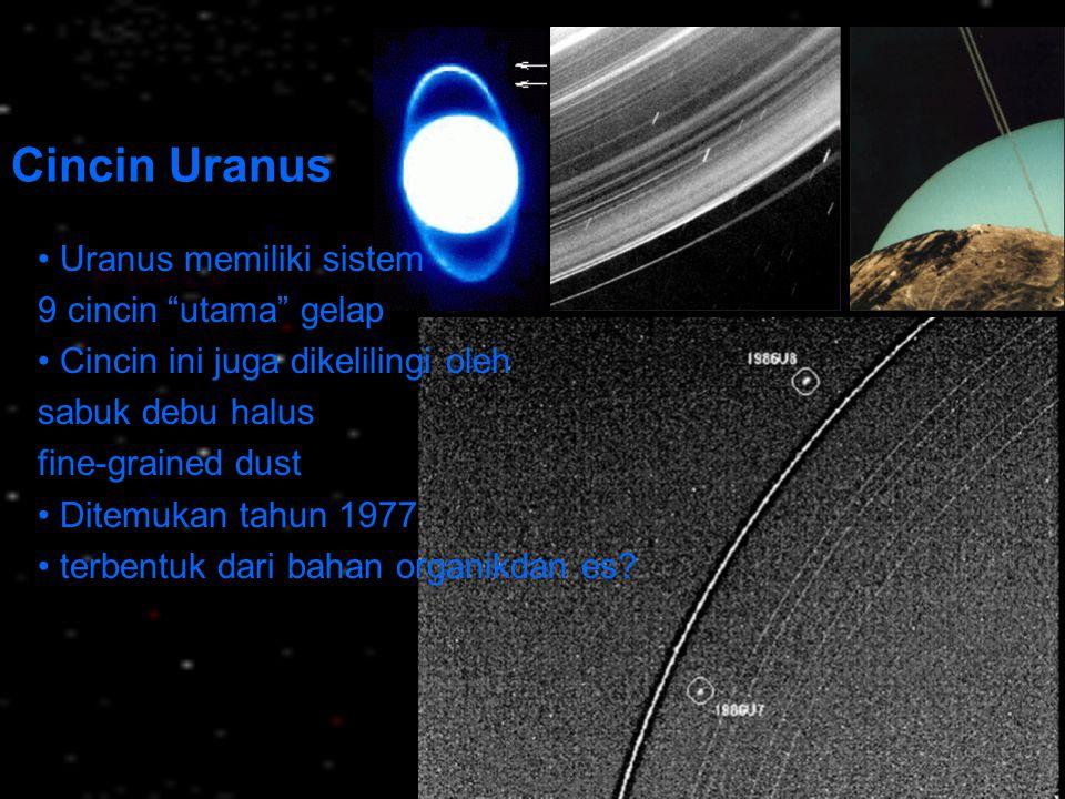Cincin Uranus • Uranus memiliki sistem 9 cincin utama gelap
