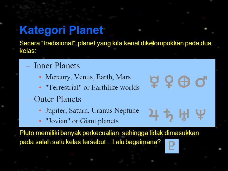 Kategori Planet Secara tradisional , planet yang kita kenal dikelompokkan pada dua kelas: