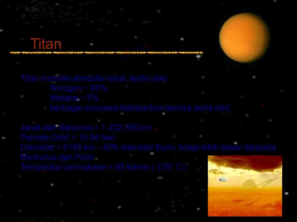 Titan Titan memiliki atmosfer tebal, terdiri dari: Nitrogen ~ 95%