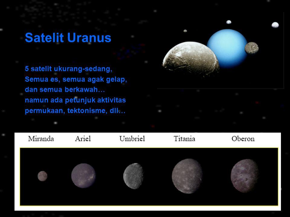 Satelit Uranus 5 satelit ukurang-sedang, Semua es, semua agak gelap,