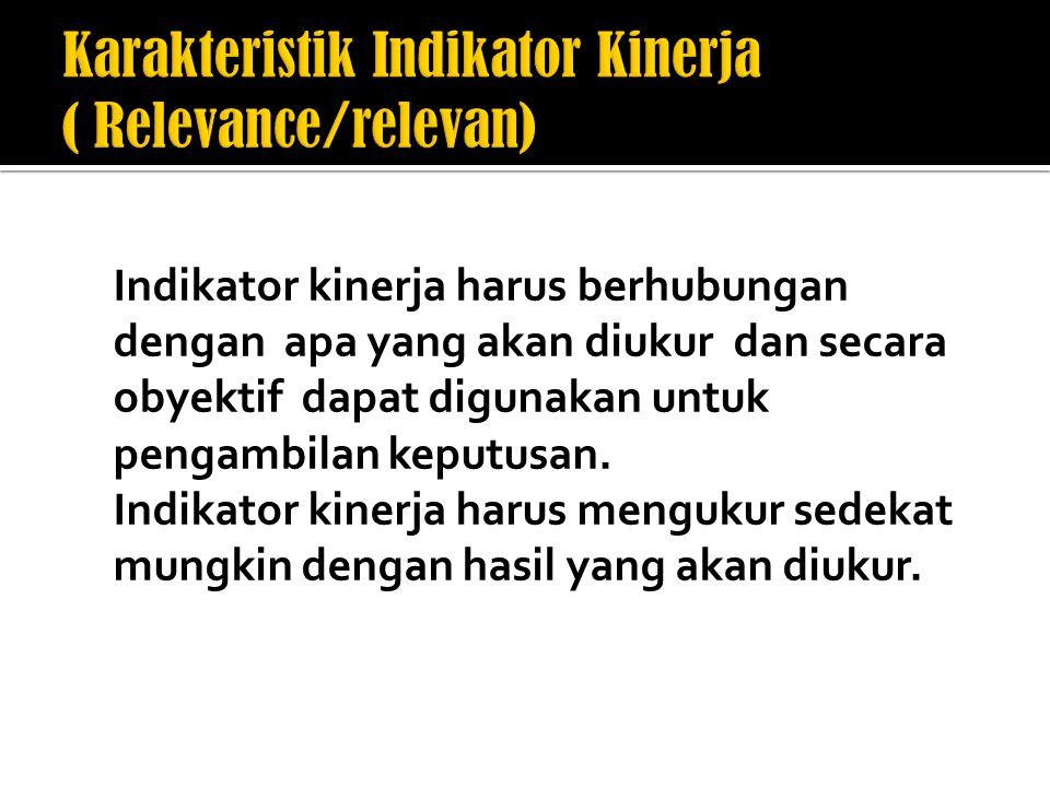 Karakteristik Indikator Kinerja ( Relevance/relevan)