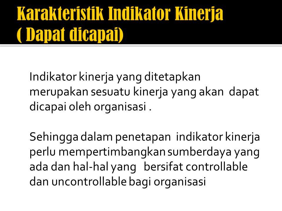 Karakteristik Indikator Kinerja ( Dapat dicapai)