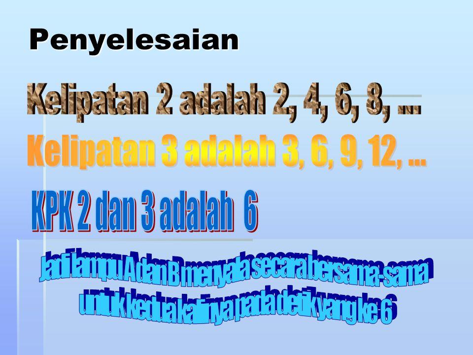 Penyelesaian Kelipatan 2 adalah 2, 4, 6, 8, ...