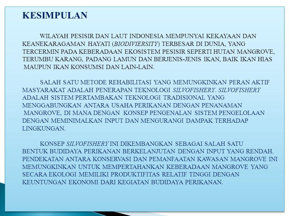 KESIMPULAN WILAYAH PESISIR DAN LAUT INDONESIA MEMPUNYAI KEKAYAAN DAN
